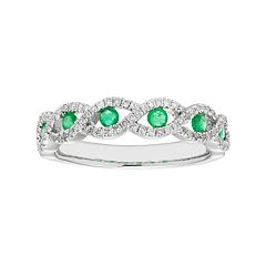 14k White Gold 1/4 Carat T.W. Diamond & Emerald Braided Ring