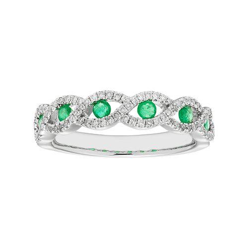 14k White Gold 1 4 Carat T W Diamond Amp Emerald Braided Ring