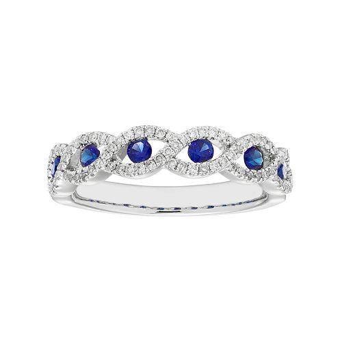 14k White Gold 1/4 Carat T.W. Diamond & Sapphire Braided Ring