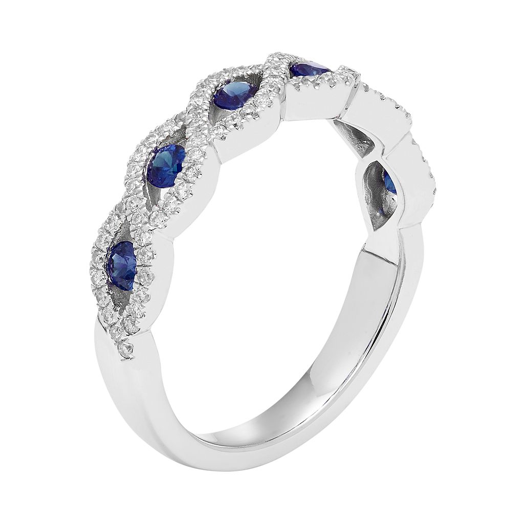 14k White Gold 1/4 Carat T.W. Diamond & Sapphire Braided Ring