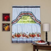 Achim 3 pc Golden Apple Tier Swag Kitchen Window Curtain Set