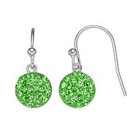 Silver Luxuries Silver Tone Crystal Disc Drop Earrings