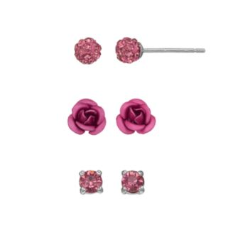 Silver Luxuries Silver Tone Crystal Fireball & Rose Stud Earring Set