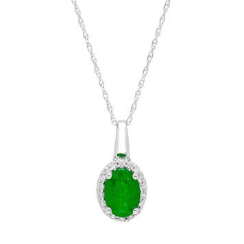 14k White Gold Emerald & 1/10 Carat T.W. Diamond Oval Halo Pendant Necklace