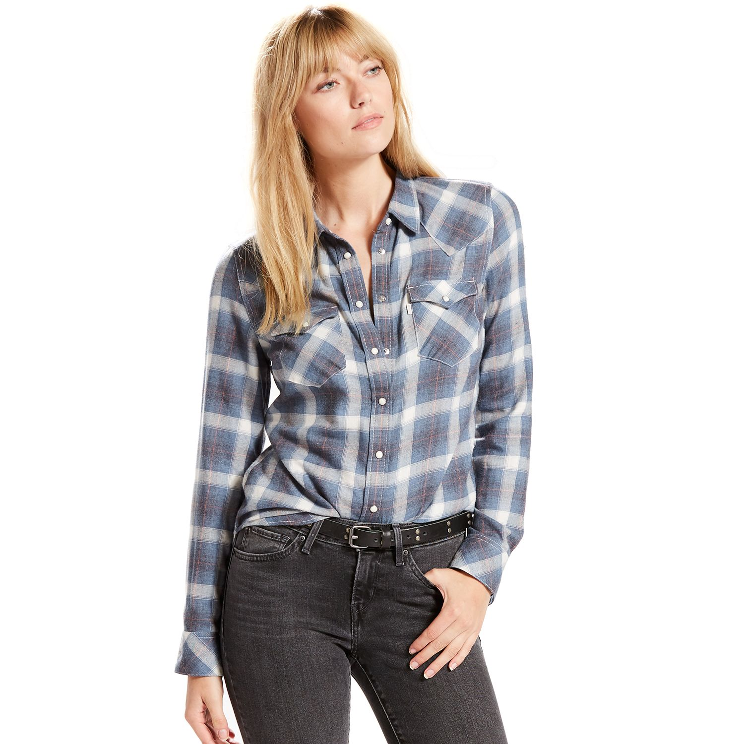 Womens Levis Classic Tailored Western Plaid Shirt