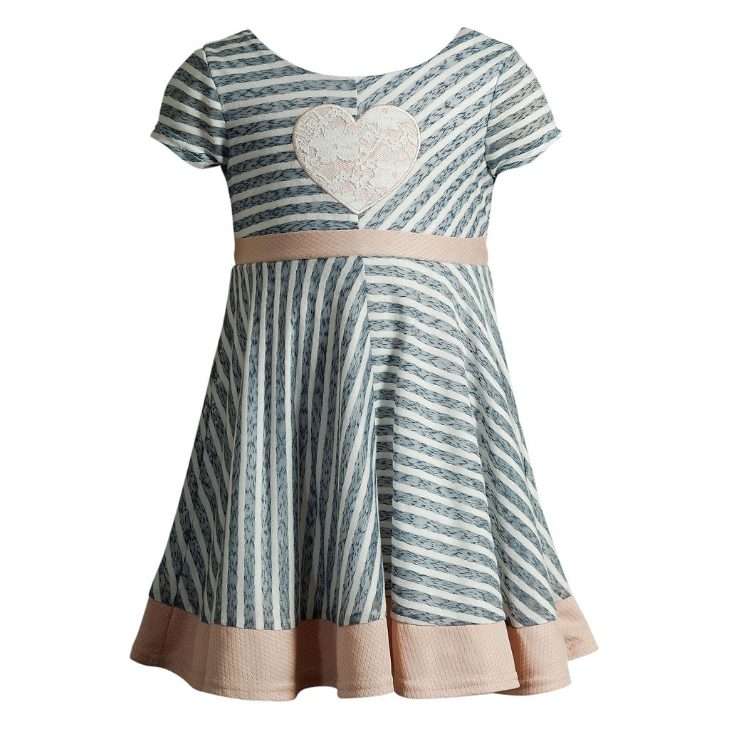 Toddler Girl Youngland Lace Heart Applique Stripe Dress