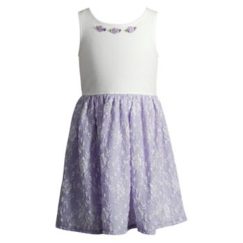 Toddler Girl Youngland Lilac Lace Skirt Dress