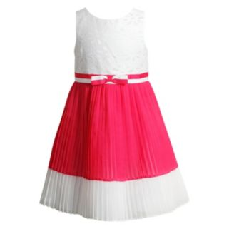 Toddler Girl Youngland White & Coral Chiffon Pleated Dress