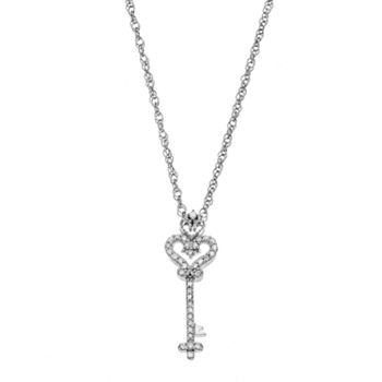 Sterling silver 110 carat tw diamond key pendant mozeypictures Image collections