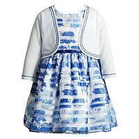 Toddler Girl Youngland Cardigan & Burnout Stripe Dress