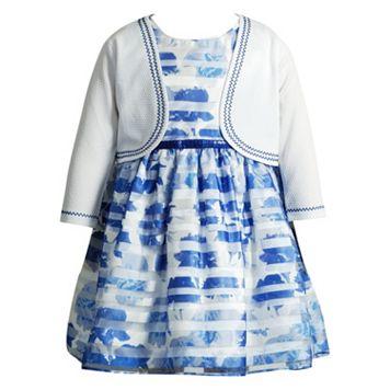 Toddler Girl Youngland Cardigan & Burnout Stripe Dress