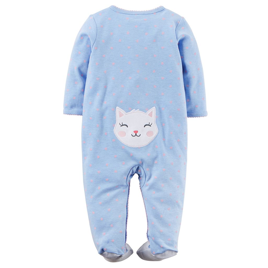 Baby Girl Carter's Kitty Heart-Print Sleep & Play