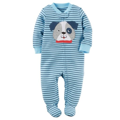Baby Boy Carter's Embroidered Dog Striped Sleep & Play