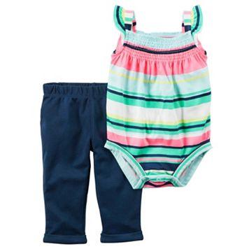 Baby Girl Carter's Rainbow Stripe Bodysuit & Pants Set