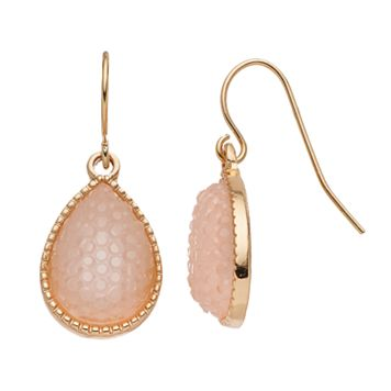 LC Lauren Conrad Pink Simulated Drusy Teardrop Earrings