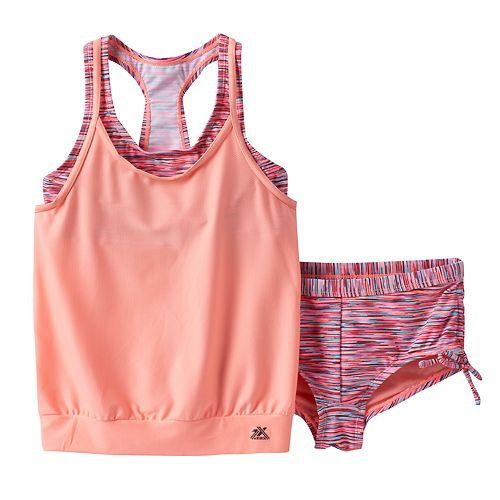 Girls 7 16 Zeroxposur Blouson Mock Layer Swimsuit Set