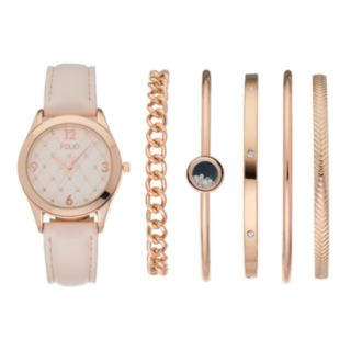 Folio Women's Crystal Watch & Bangle Bracelet Set