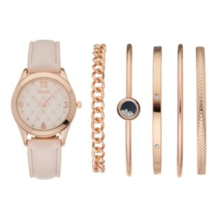 Folio Women's Crystal Watch & Bangle Bracelet Set
