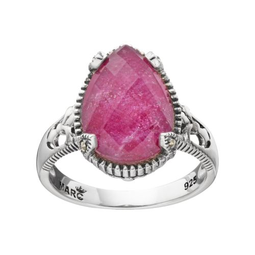 Lavish by TJM Sterling Silver Ruby Doublet & Marcasite Teardrop Ring