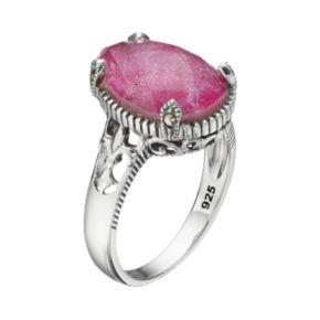 Lavish by TJM Sterling Silver Ruby Doublet & Marcasite Teardrop Ring