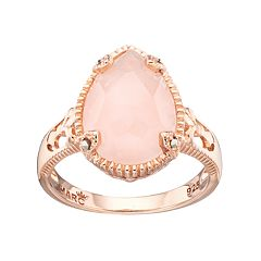 Lavish by TJM 18k Rose Gold Over Silver Rose Quartz & Marcasite Teardrop Ring