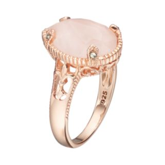 Lavish by TJM 18k Rose Gold Over Silver Rose Quartz & Marcasite Teardrop Ring