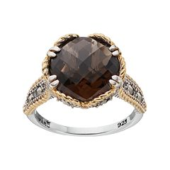 Lavish by TJM Two Tone Sterling Silver Smoky Quartz & Marcasite Circle Ring