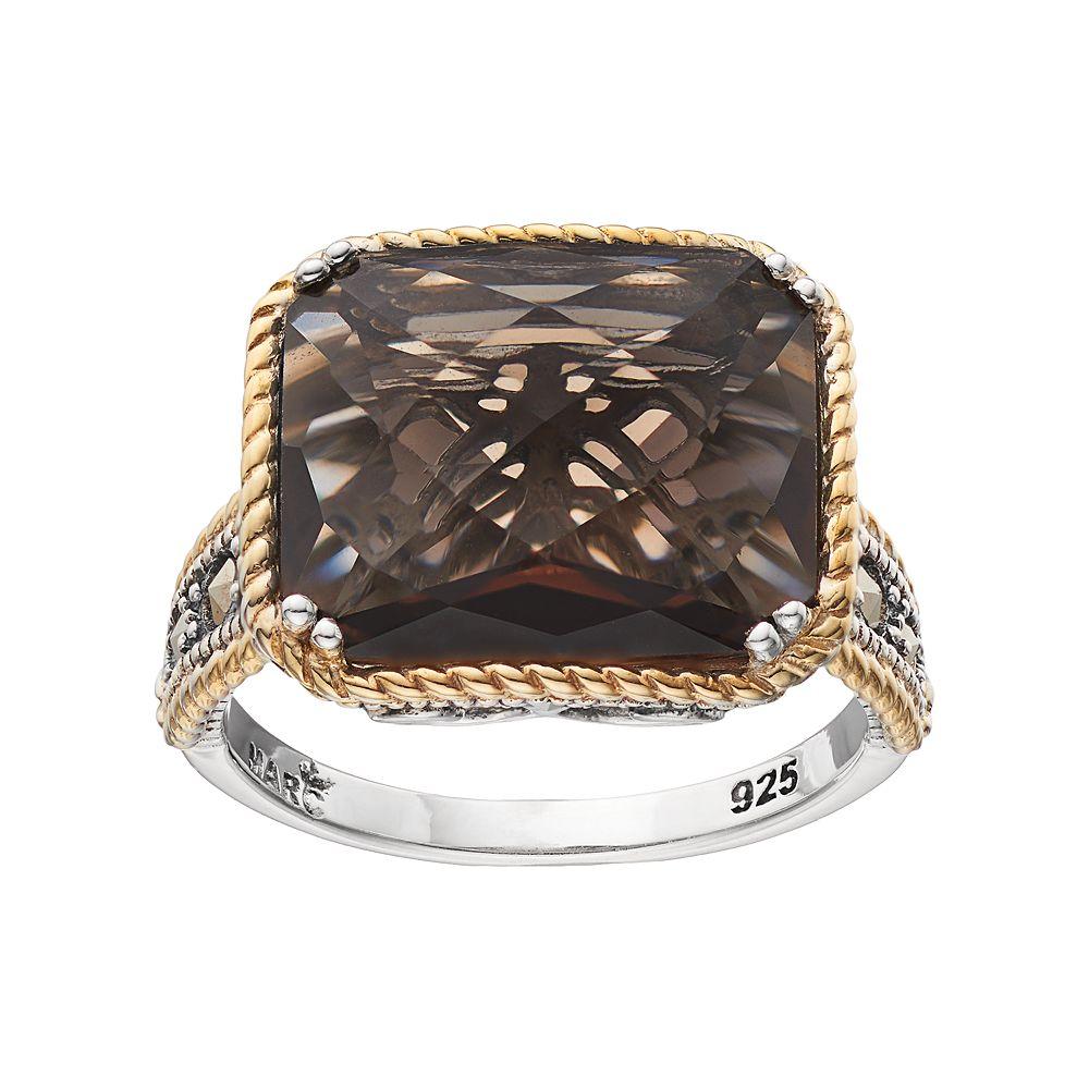 Lavish by TJM Two Tone Sterling Silver Smoky Quartz & Marcasite Octagon Ring