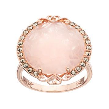 Lavish by TJM 18k Rose Gold Over Silver Rose Quartz & Marcasite Circle & Heart Ring