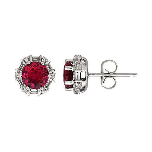 Sterling Silver Lab-Created Ruby & White Sapphire Stud Earrings