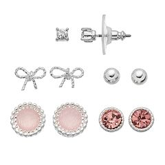 LC Lauren Conrad Bow & Round Stud Earring Set