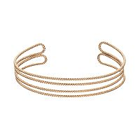 LC Lauren Conrad Textured Double Row Open Cuff Bracelet