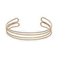 LC Lauren Conrad Textured Double Row Open Cuff Bracelet