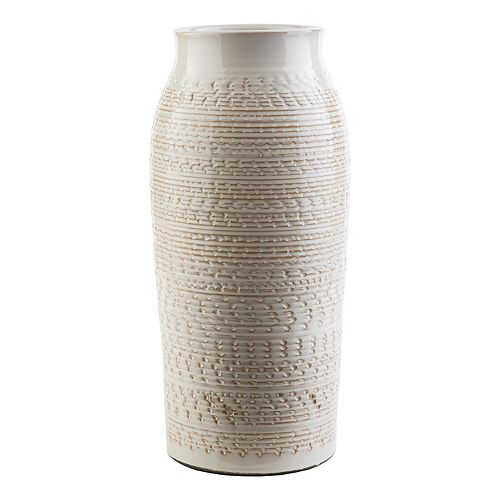 "Decor 140 Salia 15"" x 7"" Textured Beige Vase"