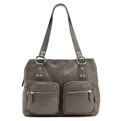 R&R Leather Zip Pocket Leather Tote