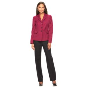 Women's Le Suit Solid Suit Jacket & Straight-Leg Pants Set
