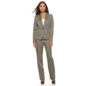Women's Le Suit Striped Suit Jacket & Straight-Leg Pants Set