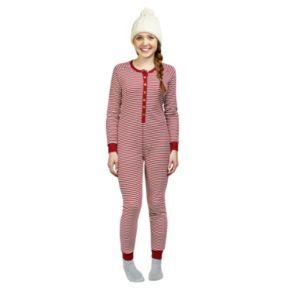 Women's Burt's Bees Organic Family Pajamas Candy Cane Striped One-Piece Jumpsuit Footless Pajamas