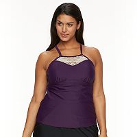 Plus Size Croft & Barrow® Crochet High-Neck Tankini Top