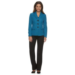 Women's Le Suit Tweed Suit Jacket & Solid Straight-Leg Pants Set