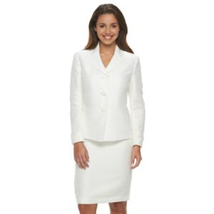 Women's Le Suit Basketweave Suit Jacket & Pencil Skirt Set