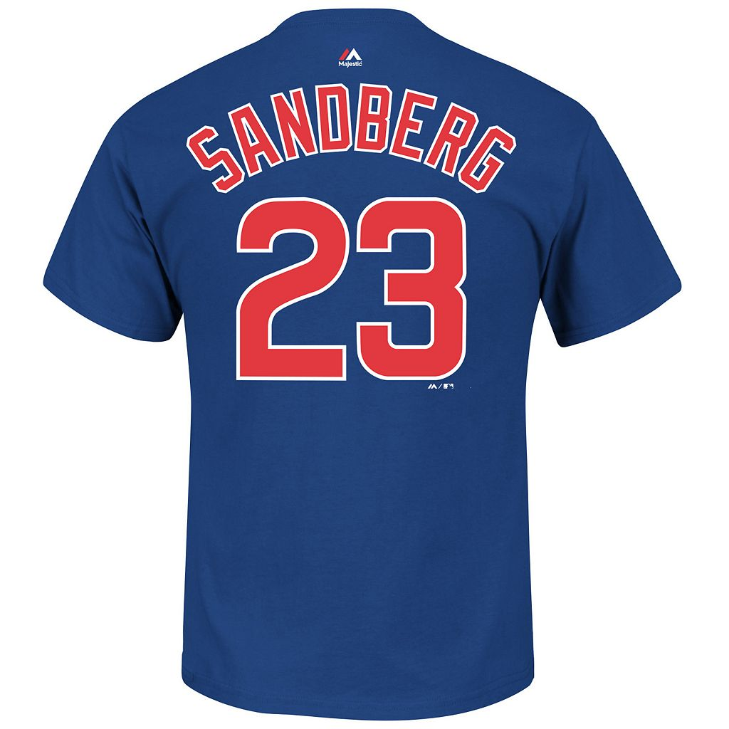 Big & Tall Majestic Chicago Cubs Ryne Sandberg Player Name and Number Tee