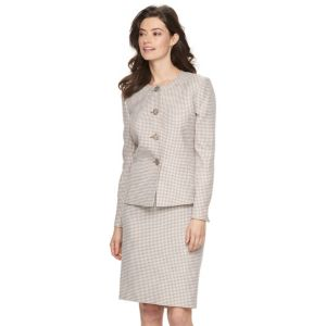 Women's Le Suit Checkered Tweed Suit Jacket & Pencil Skirt Set