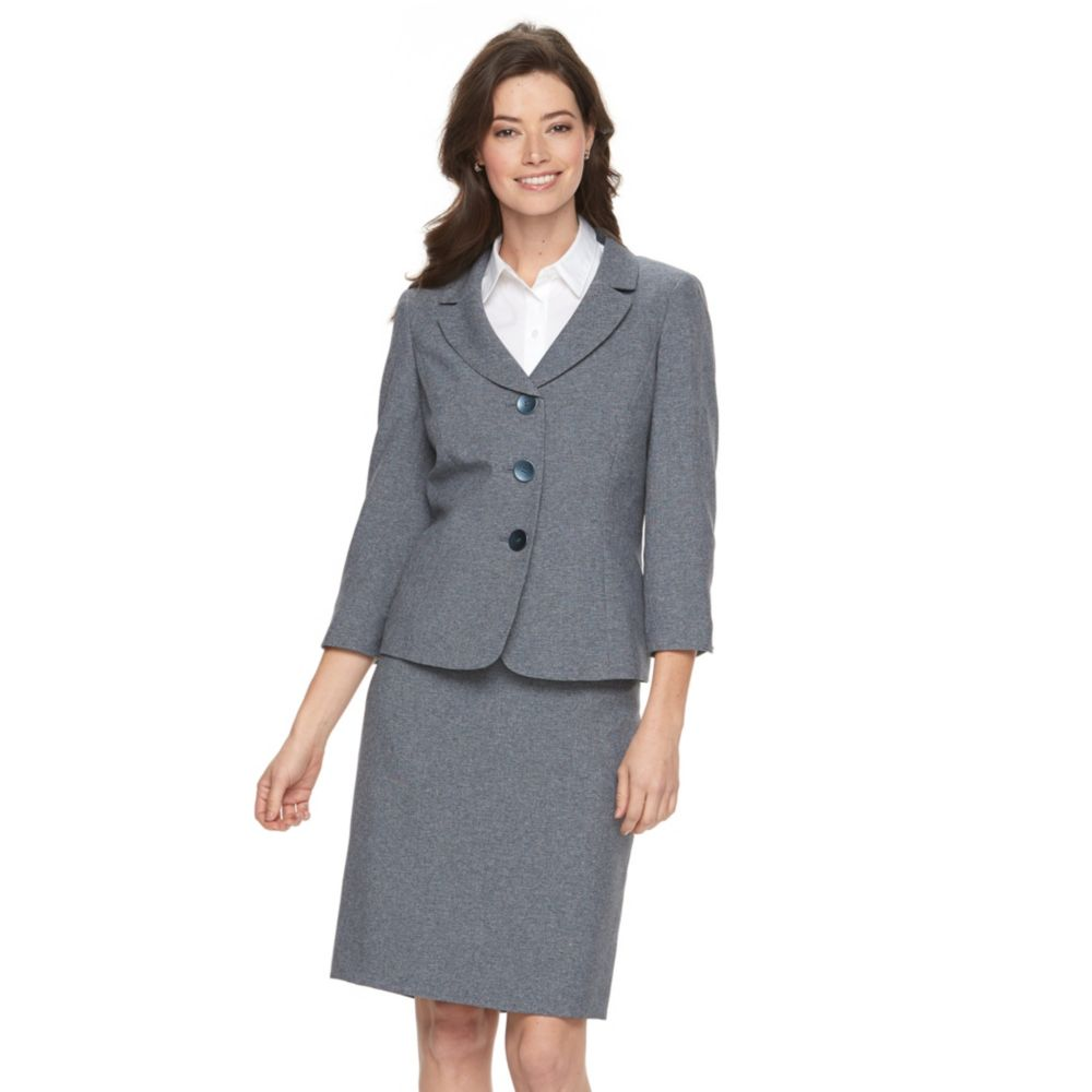 Le Suit Solid Gray Suit Jacket & Pencil Skirt Set
