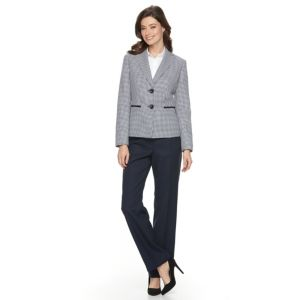 Women's Le Suit Checkered Tweed Suit Jacket & Solid Pants Set