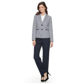 Women's Le Suit Checkered Tweed Suit Jacket & Solid Pants Set