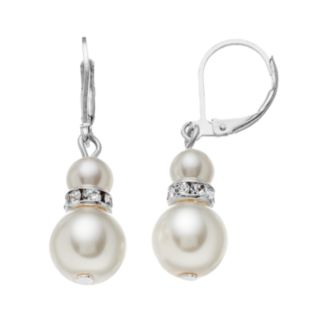 Simulated Pearl Rondelle Drop Earrings