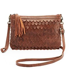 R&R Leather Scalloped Crossbody Bag