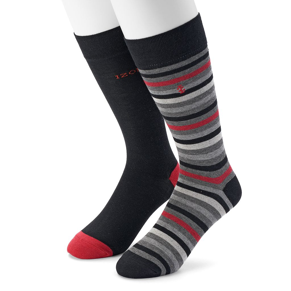 Men's IZOD 2-pack Striped & Solid Dress Socks