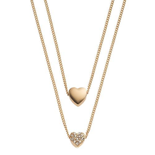 LC Lauren Conrad Dual Heart Layered Necklace